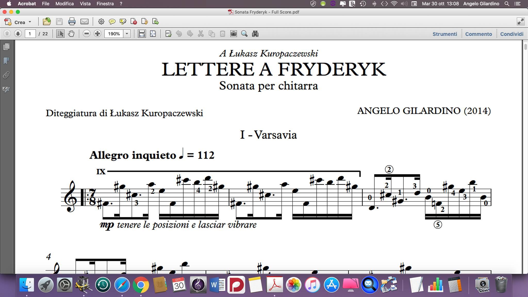 "Sonata for Solo Guitar ""Lettere a Fryderyk"""
